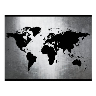 World Map Metal Postcard