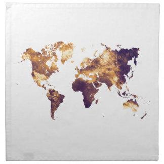 world map napkin