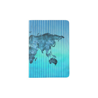 World Map | Neon Blue Stripes Passport Holder