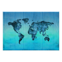 Blue world map posters prints poster printing zazzle ca gumiabroncs Gallery