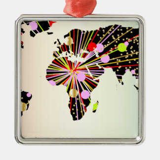 World Map New Year Metal Ornament