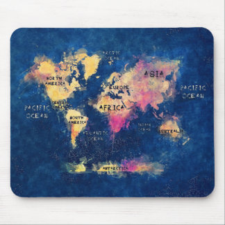 world map OCEANS and continents Mouse Pad