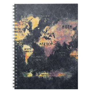 world map OCEANS and continents Notebook