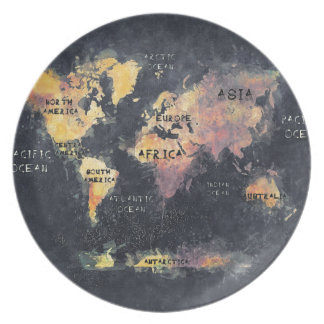 world map OCEANS and continents Plate