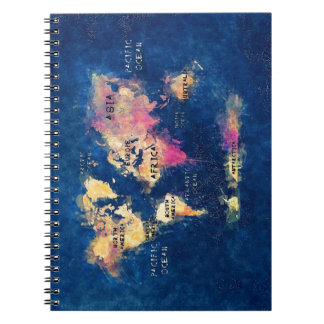world map OCEANS and continents Spiral Notebook
