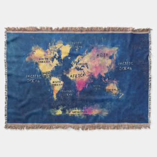 world map OCEANS and continents Throw Blanket