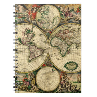 World Map of 1689 Gifts Notebooks