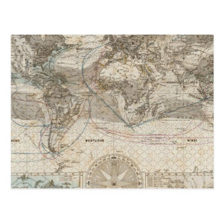 World map of Air Flow Postcard