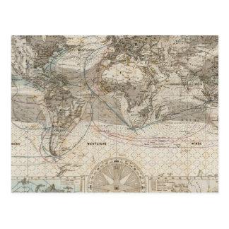 World map of Air Flow Postcard