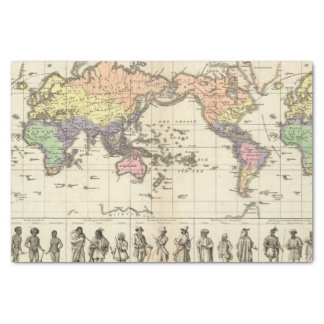 "World Map of Clothing Styles 10"" X 15"" Tissue Paper"