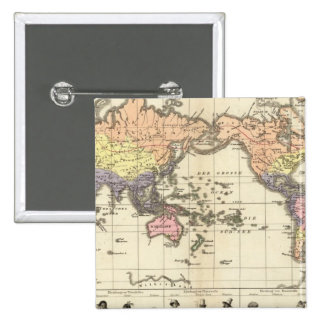 World Map of Clothing Styles 2 Inch Square Button