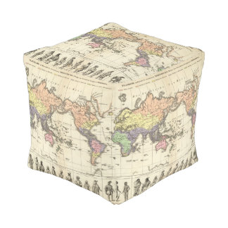 World Map of Clothing Styles Pouf