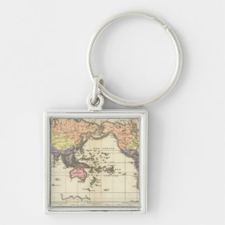 World Map of Clothing Styles Silver-Colored Square Keychain