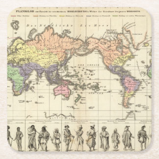 World Map of Clothing Styles Square Paper Coaster