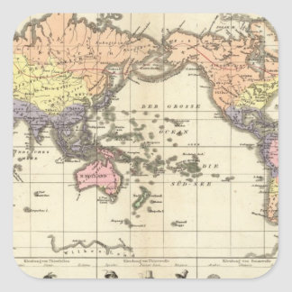 World Map of Clothing Styles Square Sticker