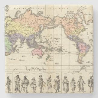 World Map of Clothing Styles Stone Coaster
