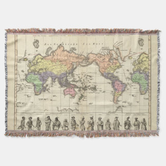 World Map of Clothing Styles Throw Blanket