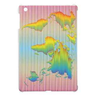 World map of rainbow bands case for the iPad mini
