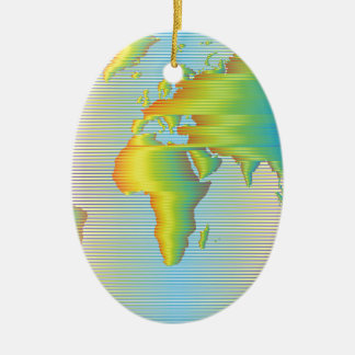 World map of rainbow bands ceramic oval ornament
