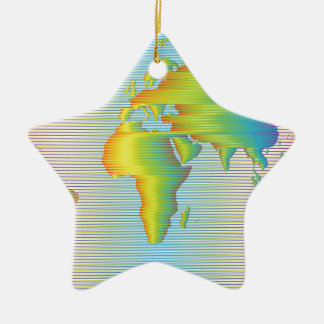 World map of rainbow bands ceramic star ornament