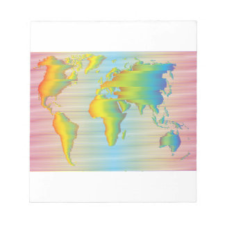 World map of rainbow bands notepads