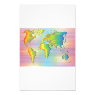World map of rainbow bands personalized stationery