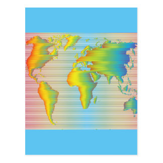 World map of rainbow bands postcard