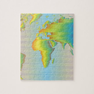 World map of rainbow bands puzzle