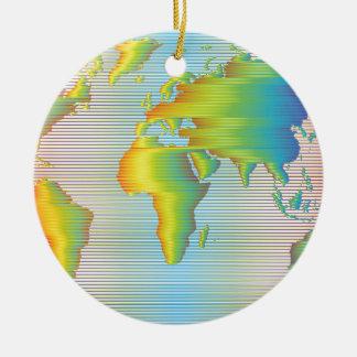 World map of rainbow bands round ceramic ornament