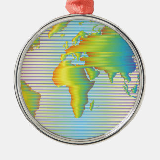 World map of rainbow bands Silver-Colored round ornament