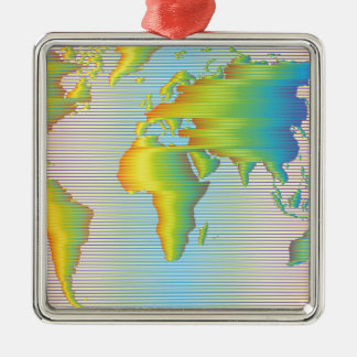 World map of rainbow bands Silver-Colored square ornament