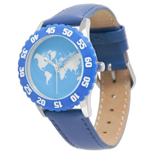 World map on a wristwatch