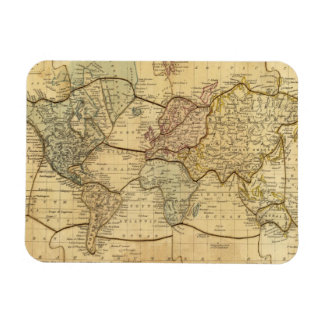 World map on Mercators Projection Rectangular Photo Magnet
