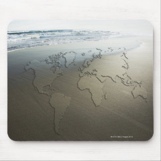 World map on sand mouse pad