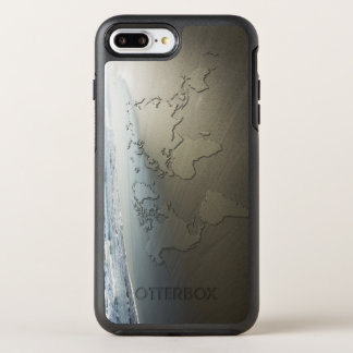 World map on sand OtterBox symmetry iPhone 7 plus case