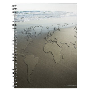 World map on sand spiral notebooks