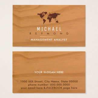 world map on wood elegant business card