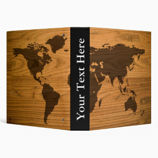 World Map on Wood Grain 3 Ring Binder