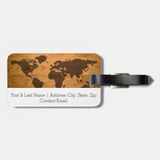 World Map on Wood Grain Bag Tag