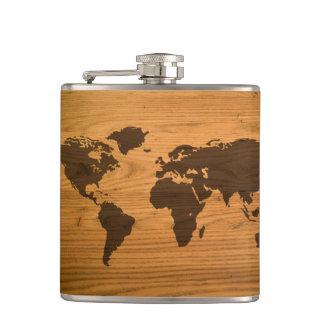 World Map on Wood Grain Flasks