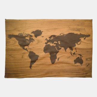 World Map on Wood Grain Kitchen Towel