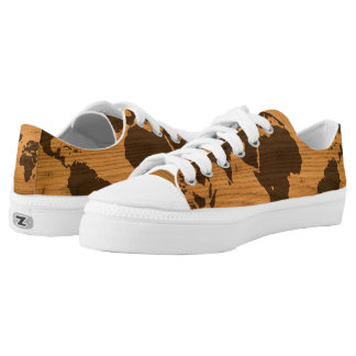 World Map on Wood Grain Low-Top Sneakers