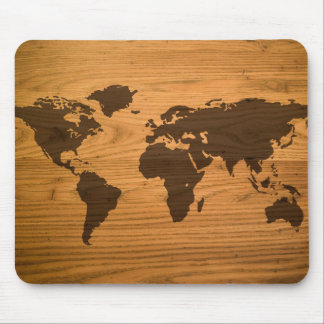 World Map on Wood Grain Mouse Pad