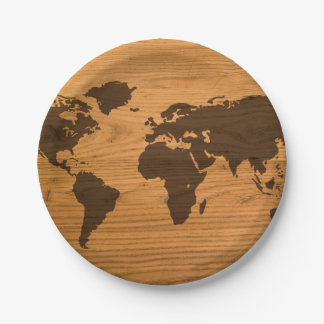 World Map on Wood Grain Paper Plate