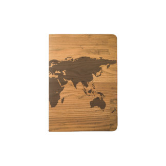 World Map on Wood Grain Passport Holder