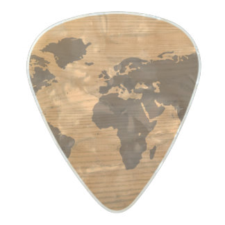 World Map on Wood Grain Pearl Celluloid Guitar Pick