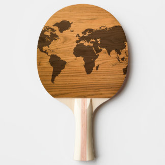 World Map on Wood Grain Ping Pong Paddle