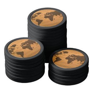 World Map on Wood Grain Poker Chips