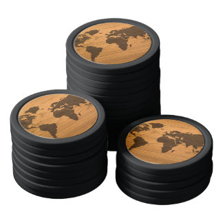 World Map on Wood Grain Poker Chips Set
