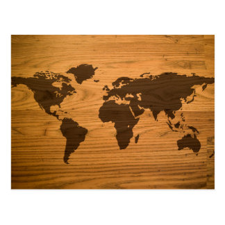 World Map on Wood Grain Postcard